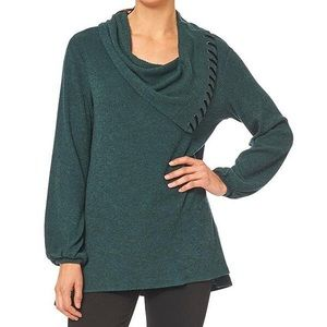 DEMOCRACY COWL NECK RIBBED SWEATER SIZE 3X GREEN